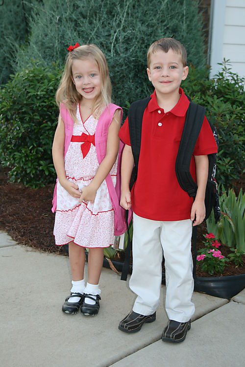 1st day kindergarten Leah and Jackson